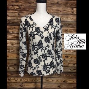 Saks Fifth Avenue 100% Cashmere Floral Sweater🌼S